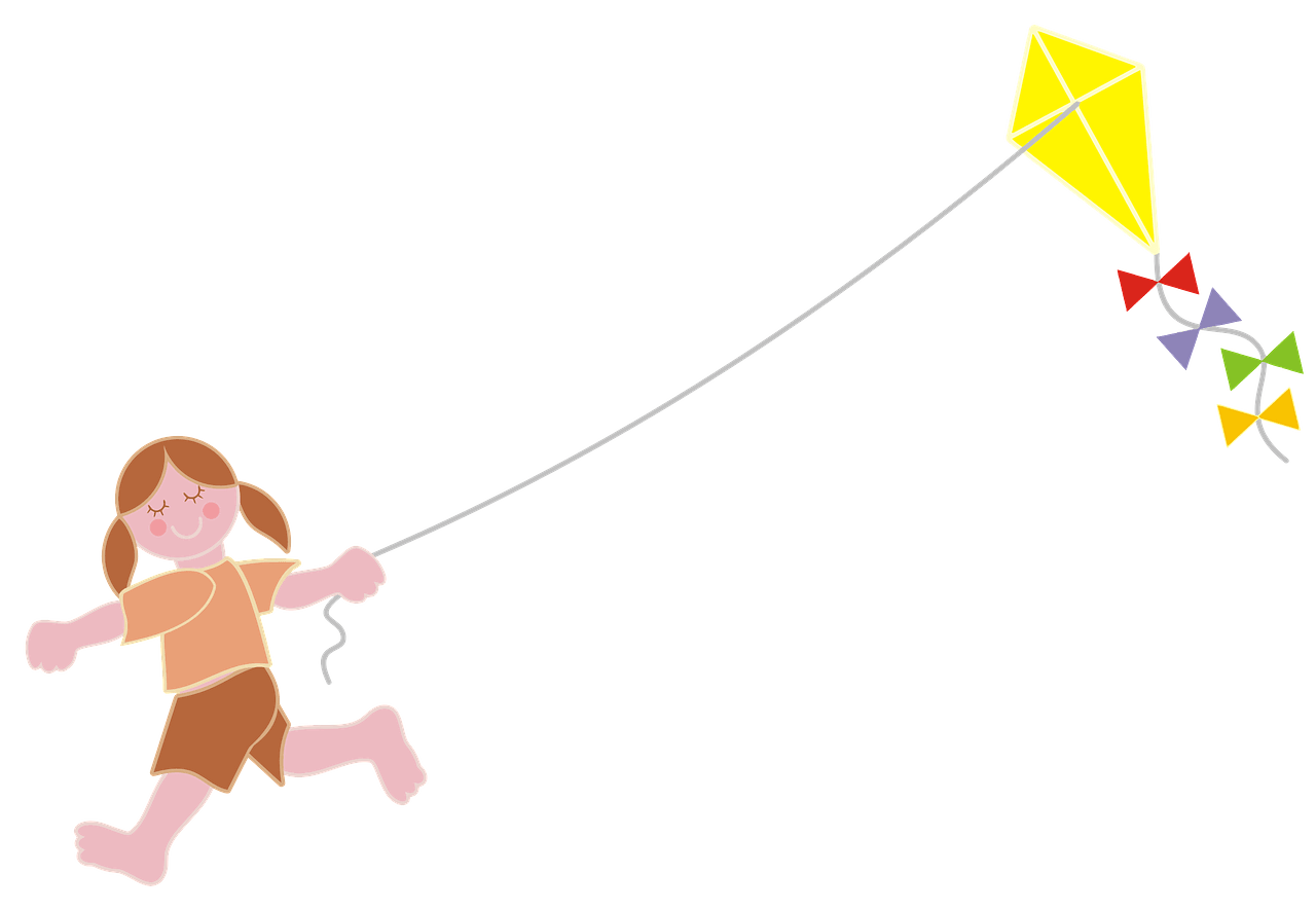 Girl flying kite clipart. Free download..