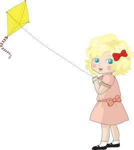 Clipart Girl Flying Kite.
