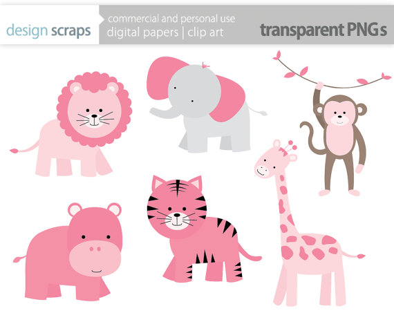 baby girl clip art pink wild jungle safari zoo by designscraps.