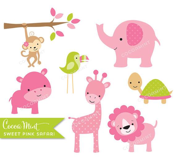 baby girl clip art pink wild jungle safari zoo by designscraps.