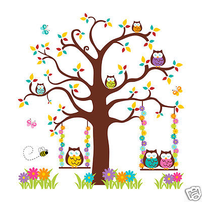 Owl Wall Mural Decals Baby Girl Nursery Woodland Forest Animals.