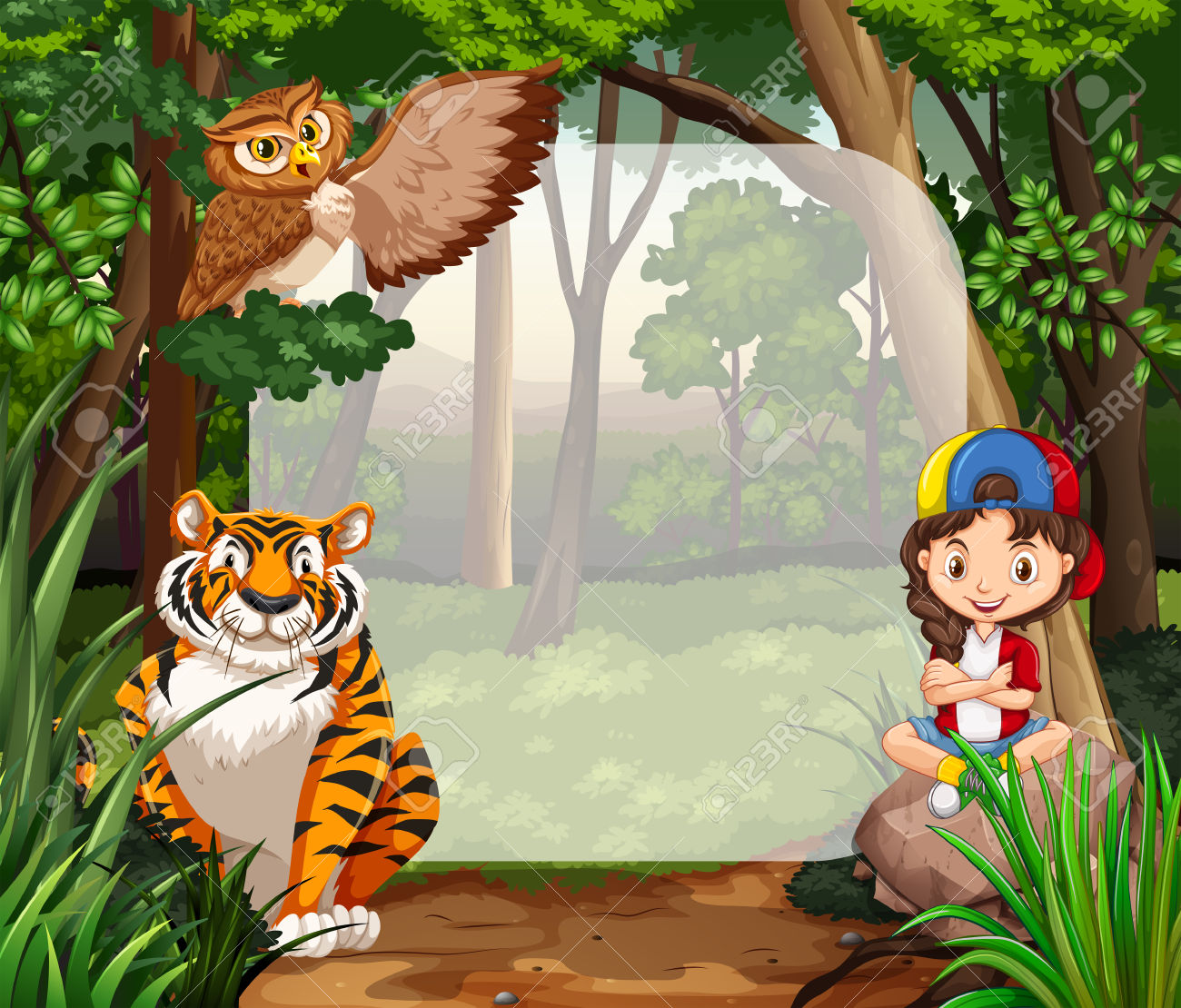 Girl Forest Animals Clipart Clipground