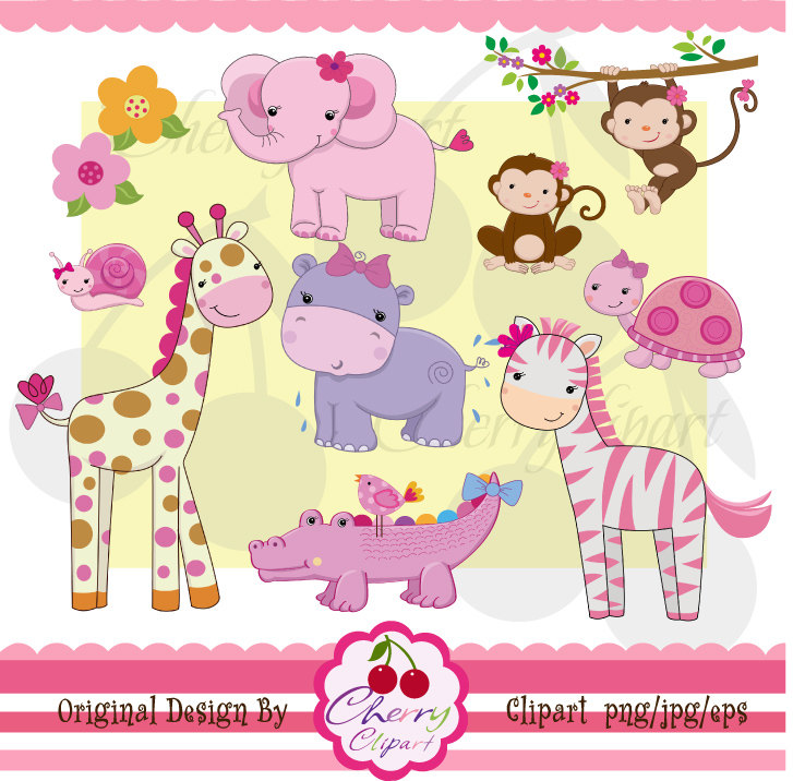 Girl Forest Animals Clipart.