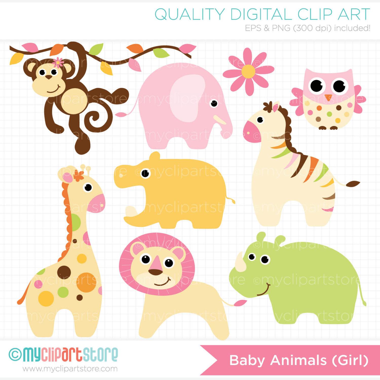 Baby Girl Animals Clipart.