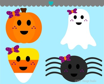 Girls Halloween pumpkin ghost candy spider clipart commercial use.