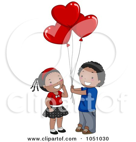 Black Boy Giving Heart Balloons To A Girl Posters, Art Prints by.