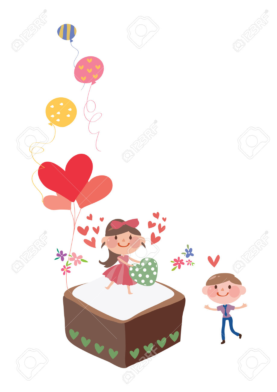 Girl Giving A Heart To A Boy Royalty Free Cliparts, Vectors, And.