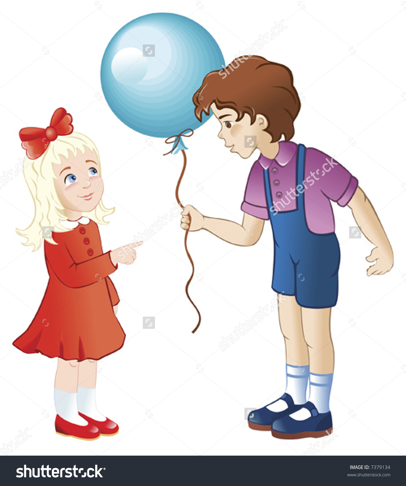 Boy Gives Little Girl Balloon Stock Vector 7379134.
