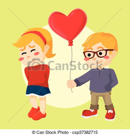 Vector Clip Art of a boy giving heart shaped balloon to girl.