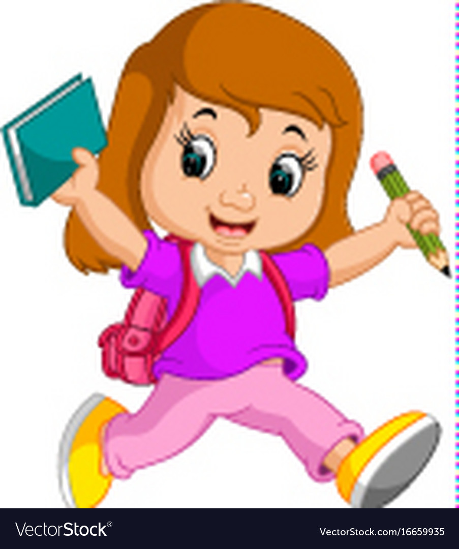Cute girl go to school cartoon.