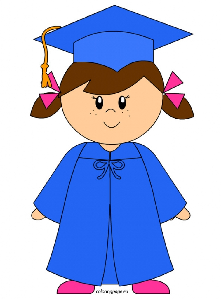 kindergarten graduate girl clip art coloring page pertaining to.