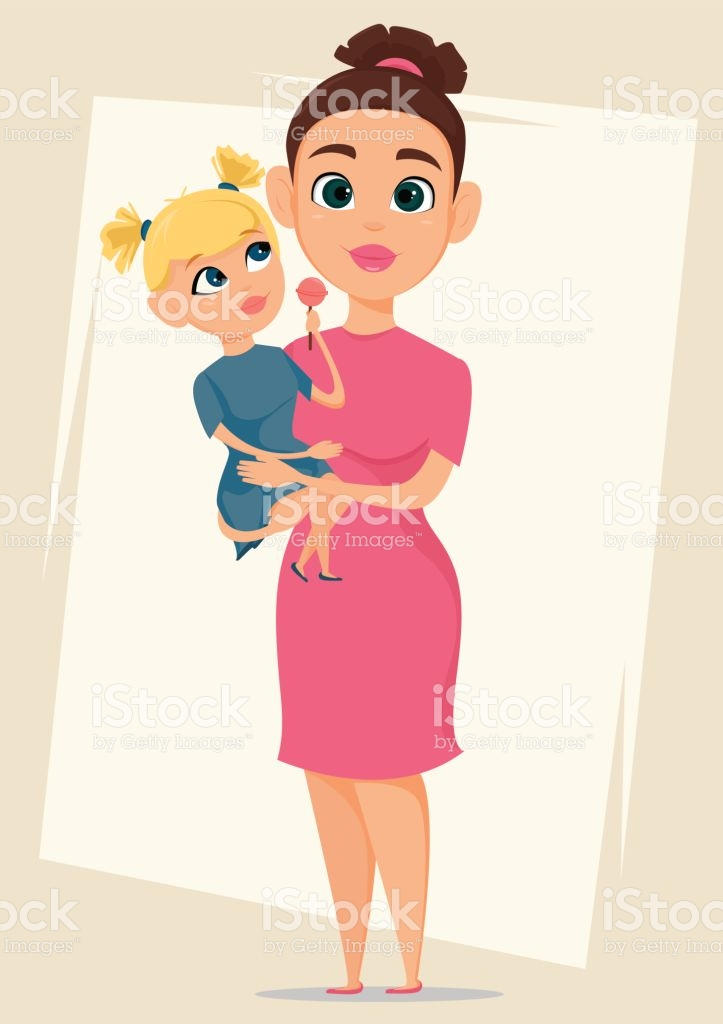 Happy Mothers Day Greeting Card Mother Holding Her Daughter Best.