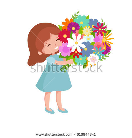 Baby Girl Holding Bouquet Flowers Mom Stock Vector 414606559.
