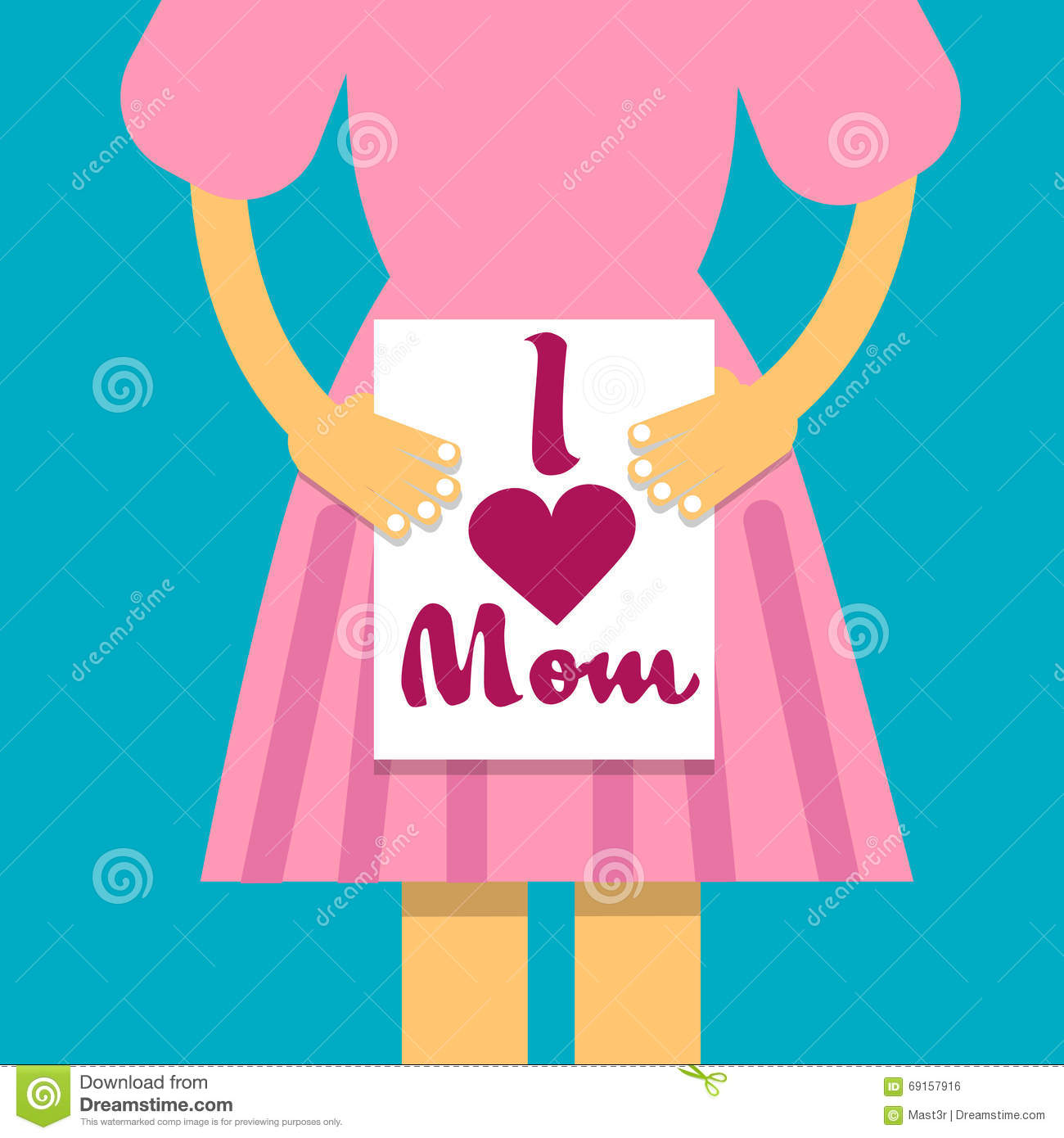 Girl Hold Banner I Love Mom, Mother Day Holiday, Daughter With.