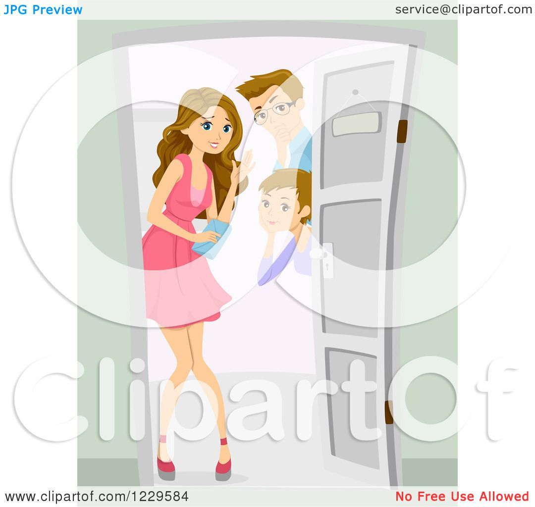 Clipart of a Mom and Dad Greeting Their Teenage Daughter's Date at.