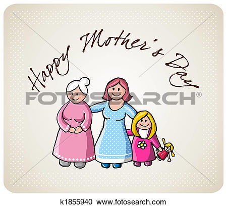 Stock Illustrations of Greetings for mom in her day k1855940.