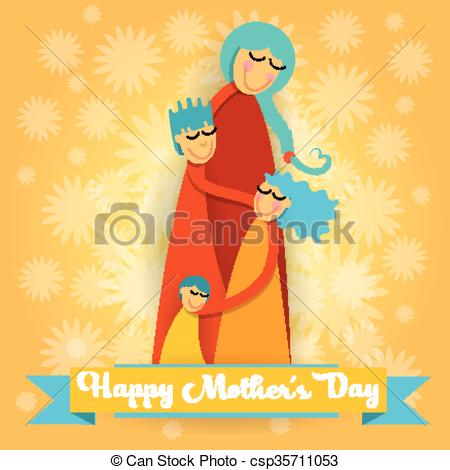 Clipart Vector of Happy Mother Day, Family Love Three Children.