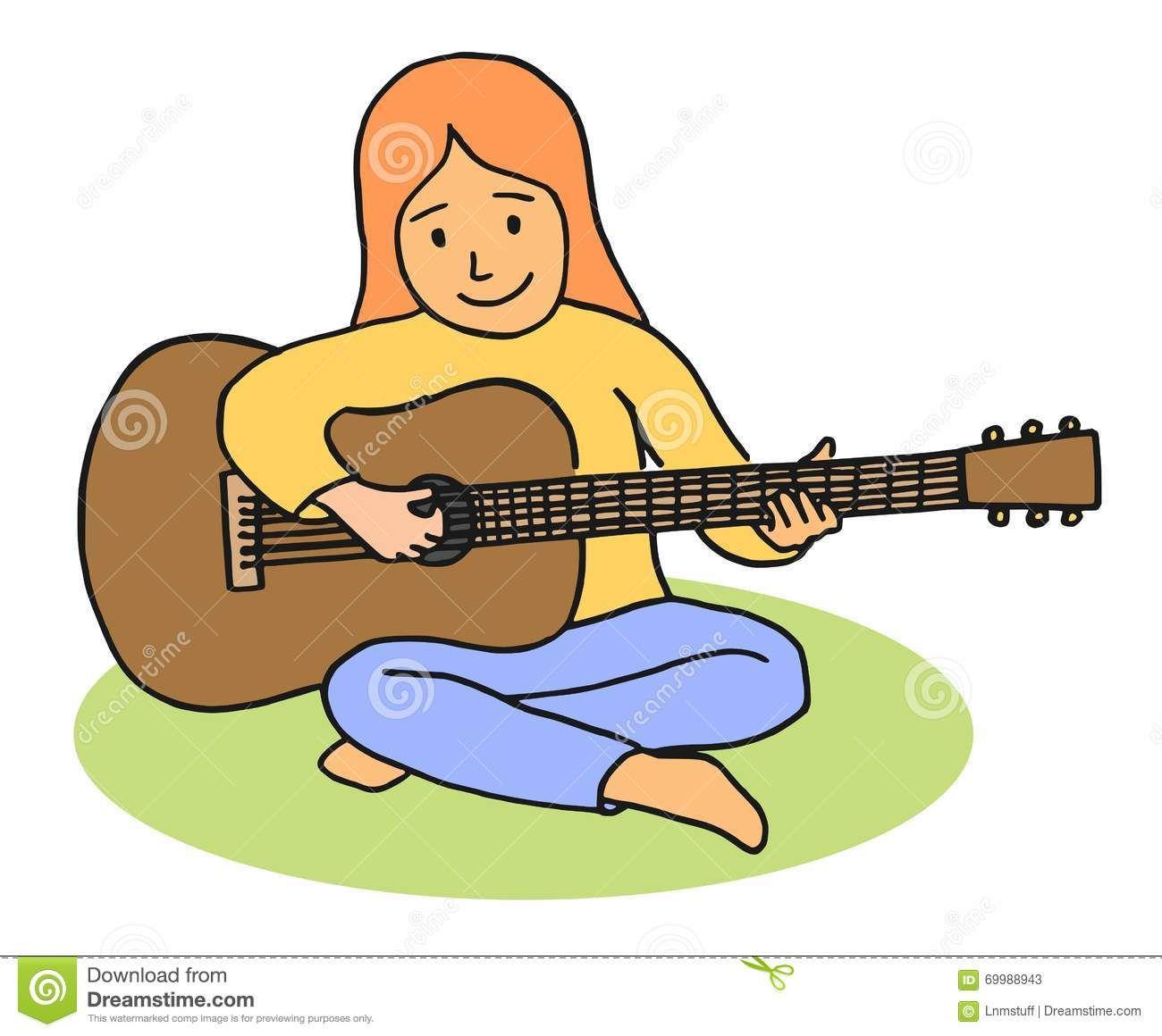 Cartoon girl playing guitar Stock Photos.