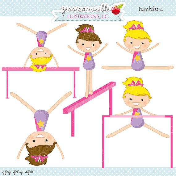 Little Girl Gymnasts Clip Art.