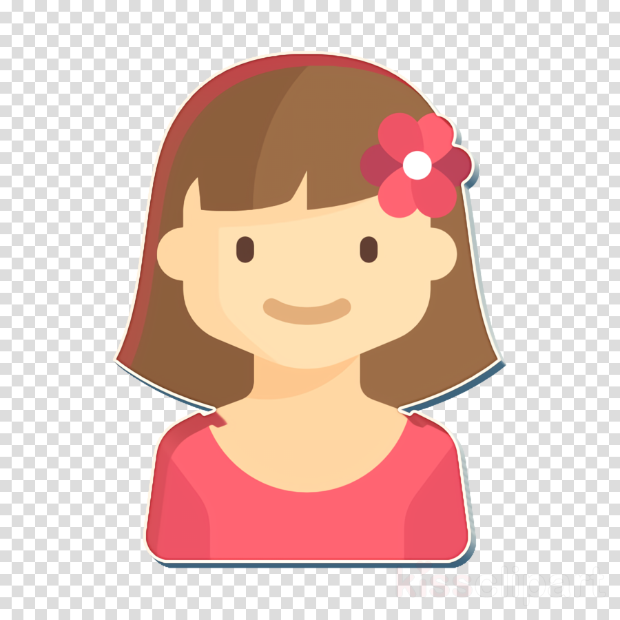 Kids Avatars icon Girl icon clipart.