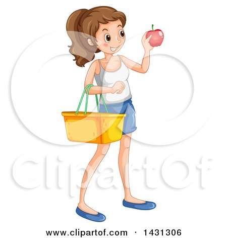 Clipart of a Caucasian Woman Holding an Apple and Picnic Basket.
