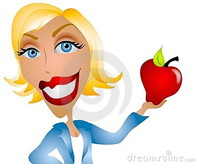 Caucasian Woman Teacher Apple Stock Photos.
