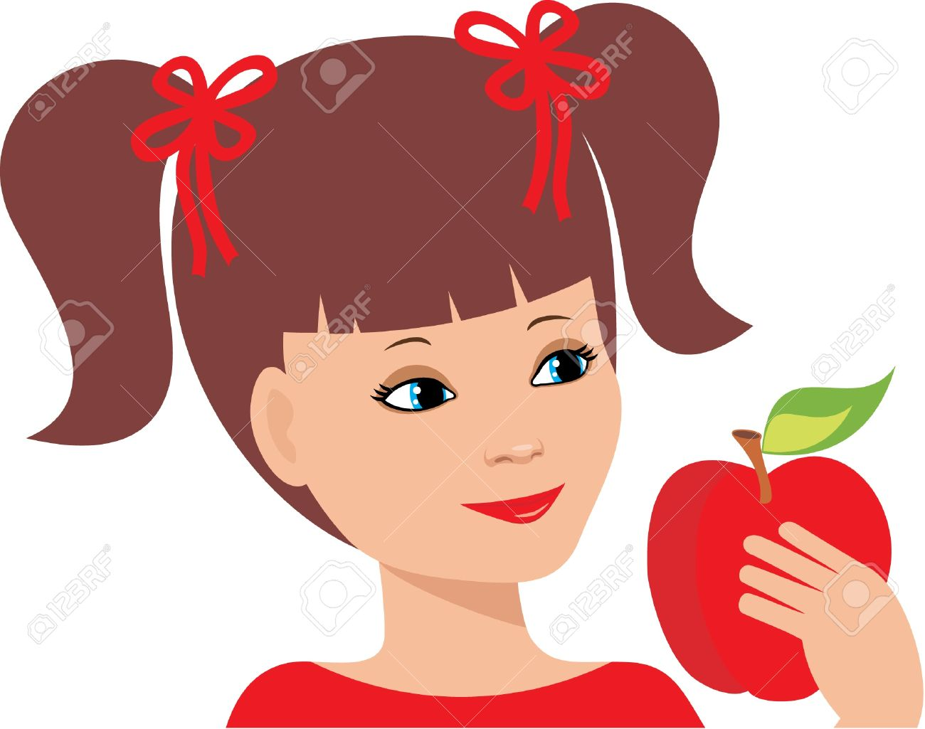 Little Girl With An Apple Royalty Free Cliparts, Vectors, And.