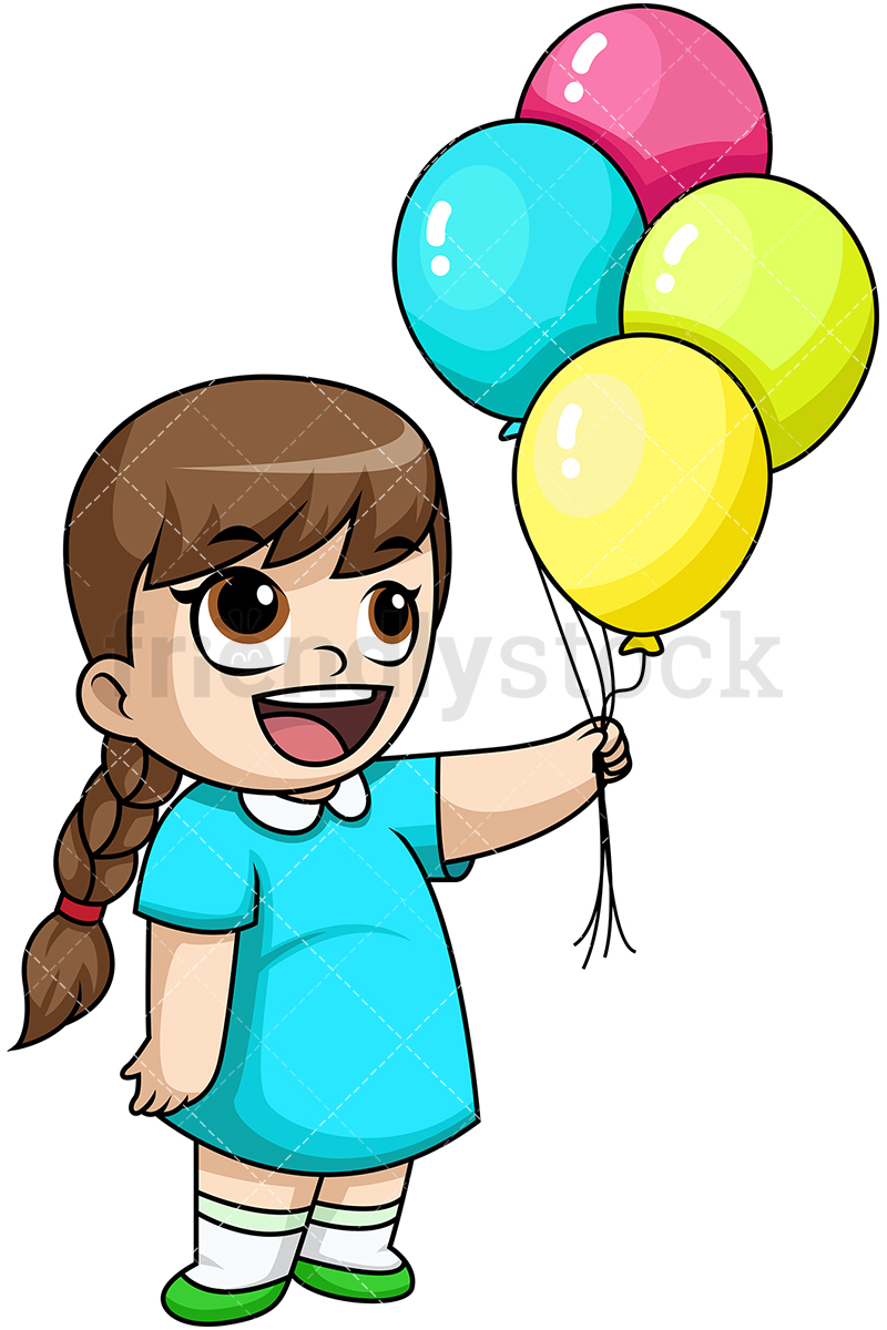 Happy Little Girl Holding Balloons.