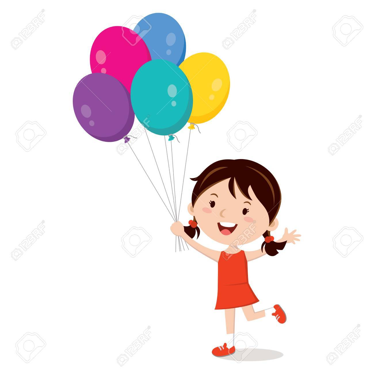 Girl holding balloons isolated. Happy girl gesturing with colorful...