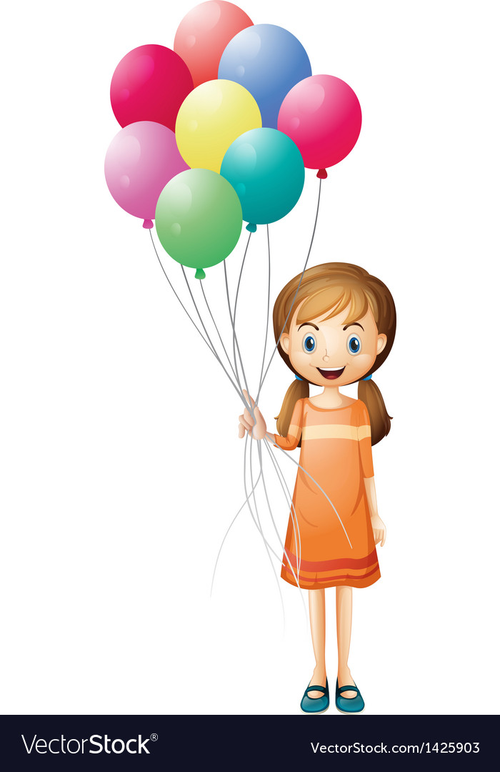 A girl holding eight colorful balloons.