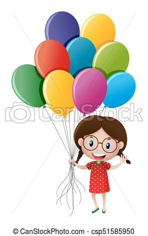 Girl holding many balloons.