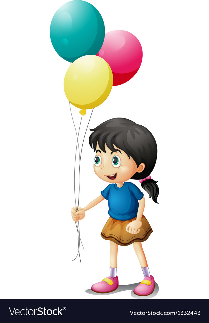 A cute litte girl holding balloons.