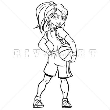 Sports Clipart Image of Basketball Girl Holding Player Woman.