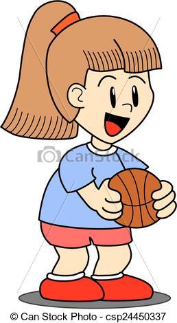 Vectors of Girl holding a basketball ball.