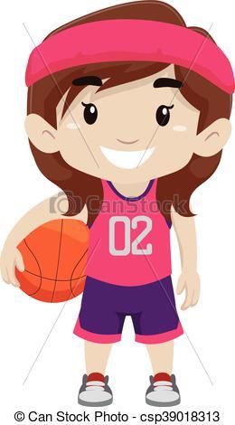 Vector Clip Art of Girl Holding Basketball.