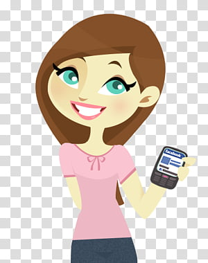 Sweet doll PSD, girl holding smartphone illustration.
