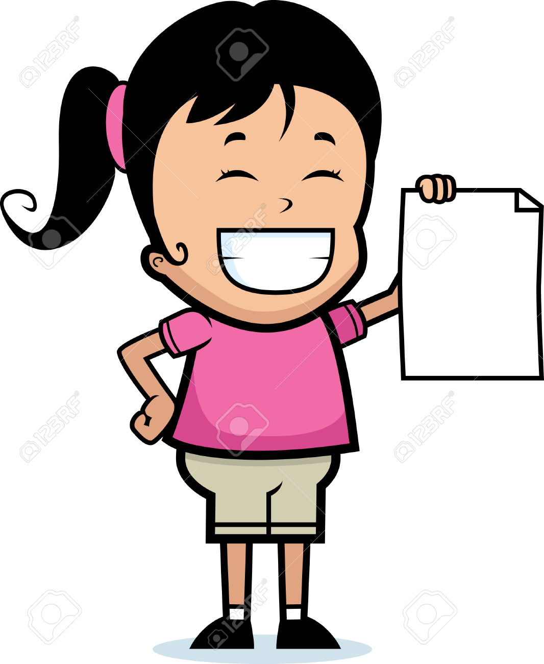 A Happy Cartoon Child Proudly Holding A Piece Of Paper. Royalty.