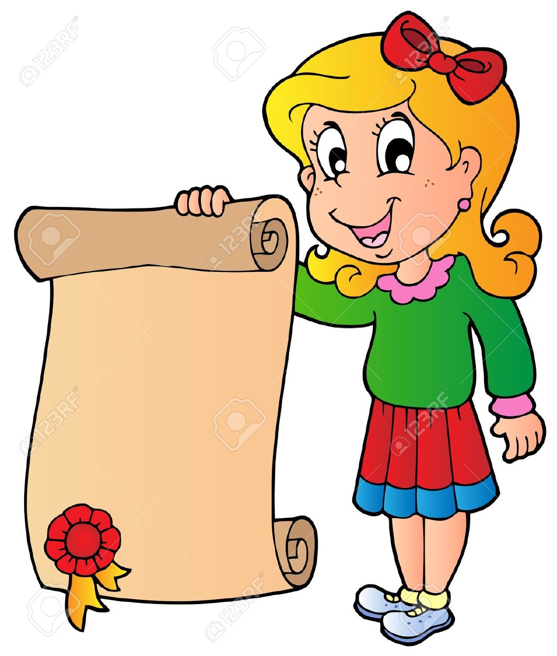 Girl Holding Diploma Royalty Free Cliparts, Vectors, And Stock.