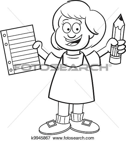Clip Art of Girl holding a paper and pencil k9945867.