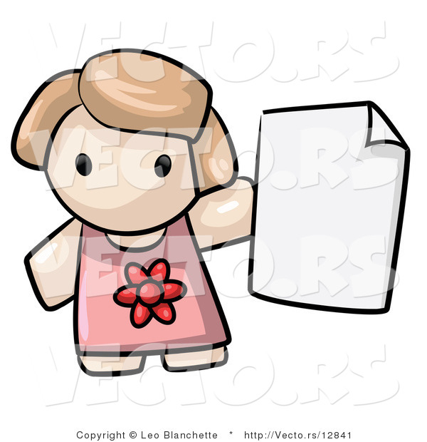 Vector of Cartoon Girl Holding Blank Paper by Leo Blanchette.
