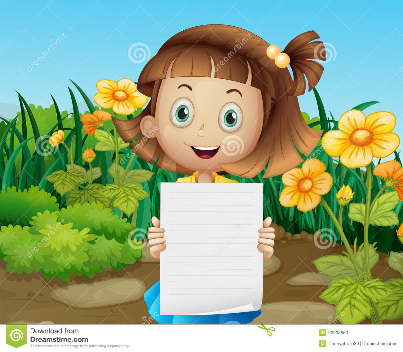 A Girl Holding An Empty Piece Of Paper Royalty Free Stock Photo.