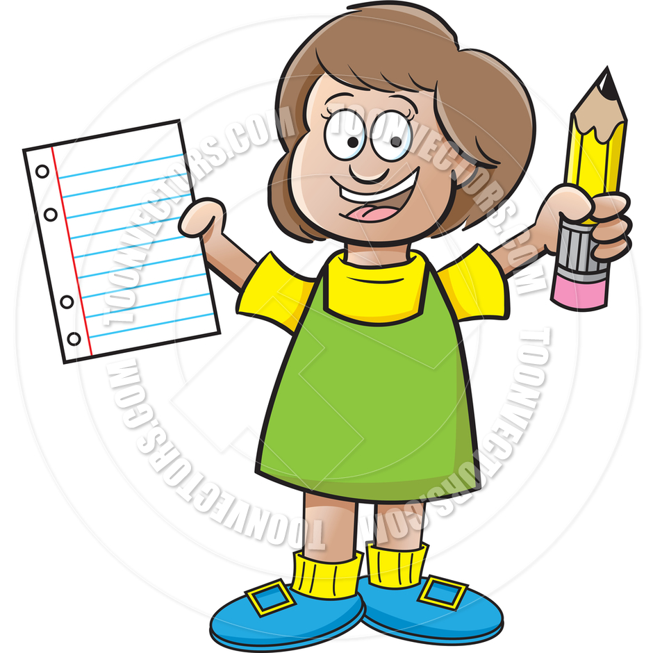 Cartoon Girl Holding a Paper and Pencil by kenbenner.