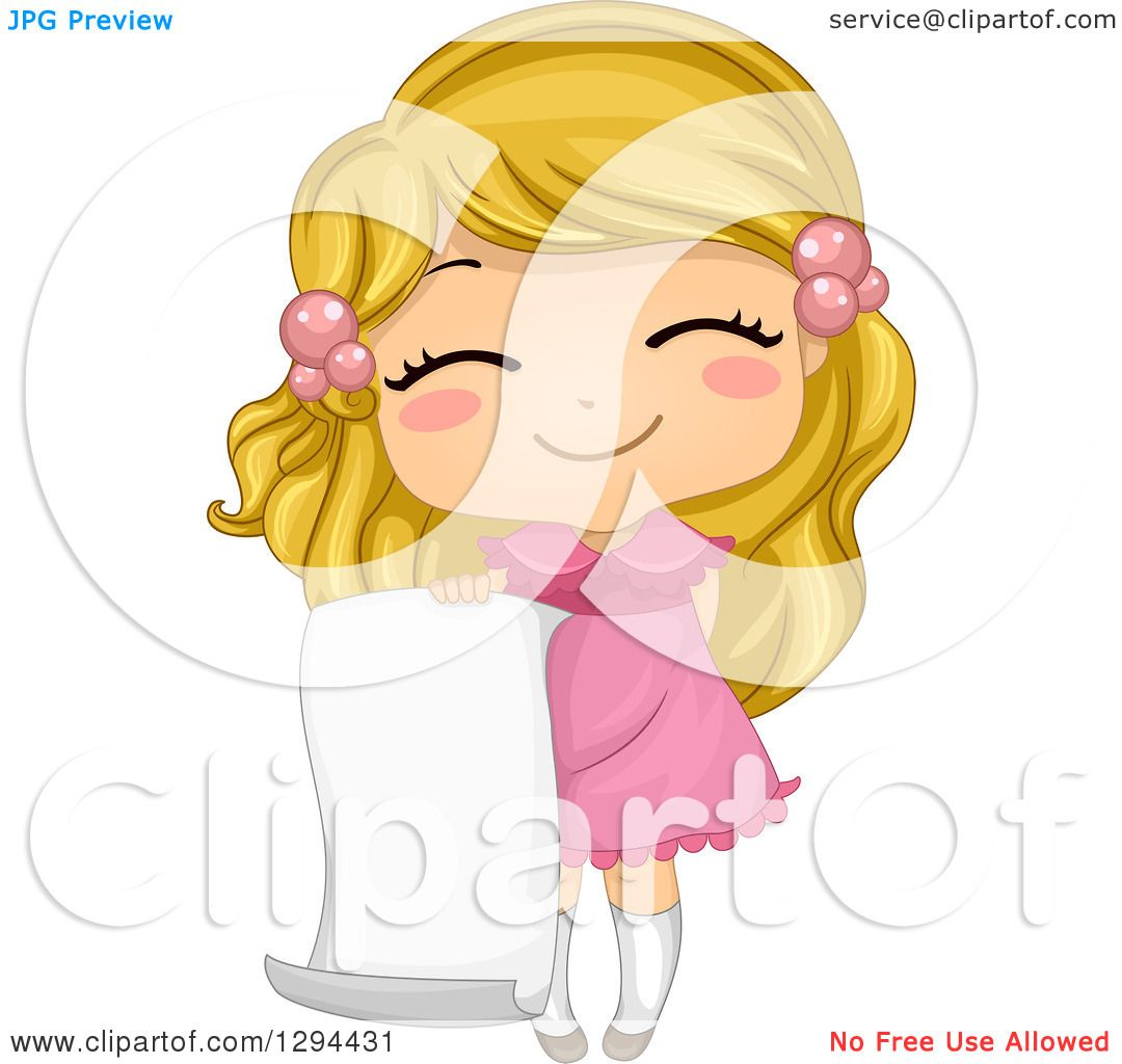 Clipart of a Cute Happy Blond White School Girl Holding a Blank.