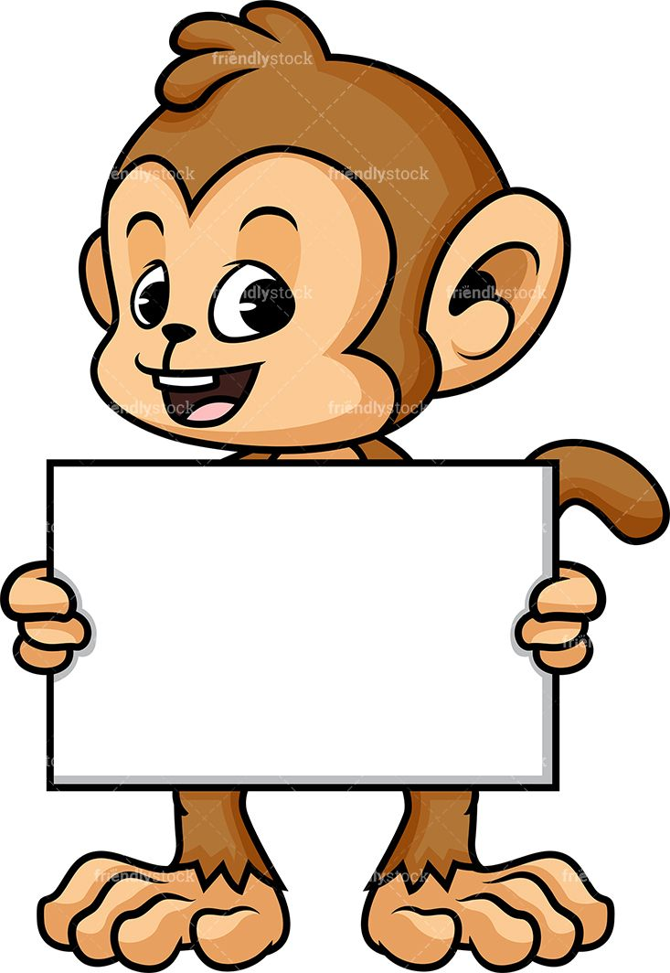 Monkey Holding Empty Sign.