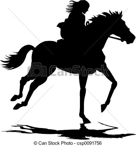 Stock Image of Girl riding horse.