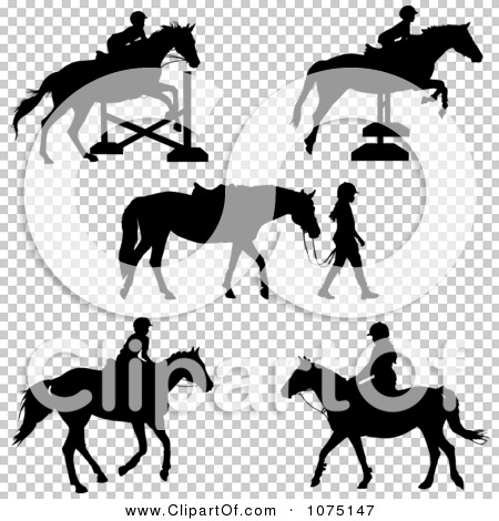 Clipart Silhouetted Horses And Equestrian Girls.