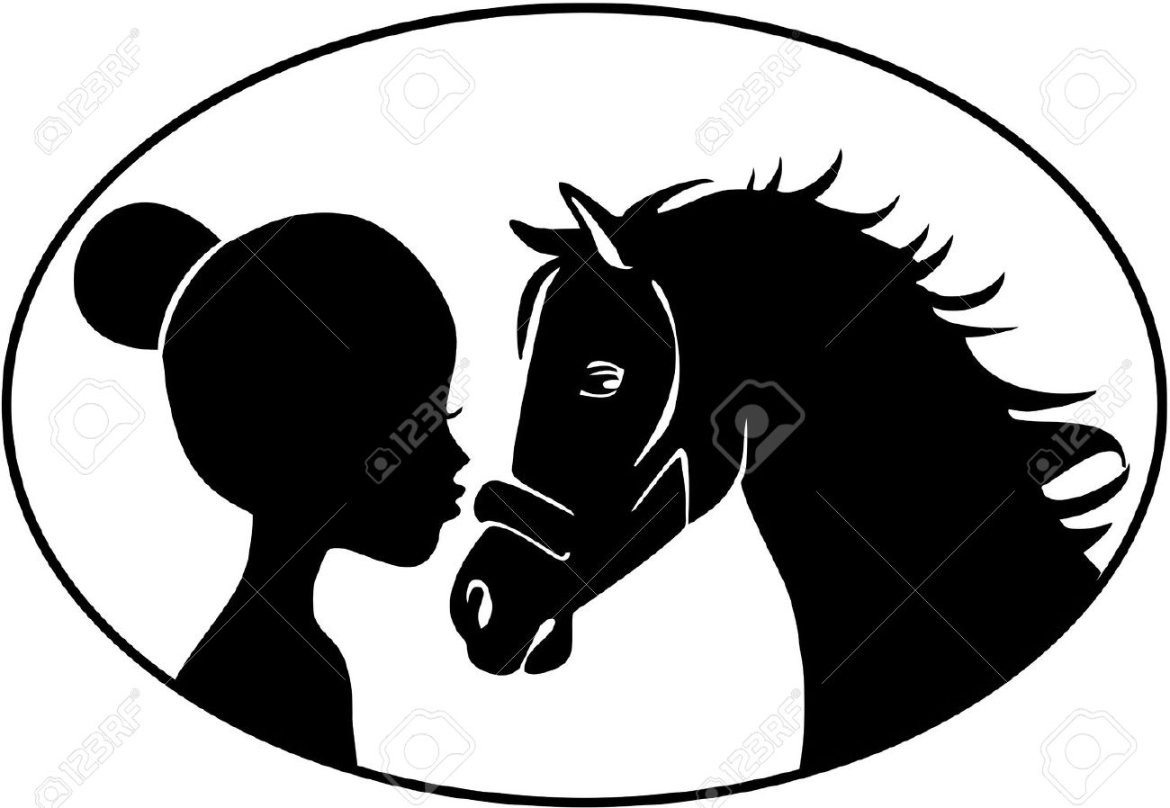 Little Girl Kissing Horse Royalty Free Cliparts, Vectors, And.