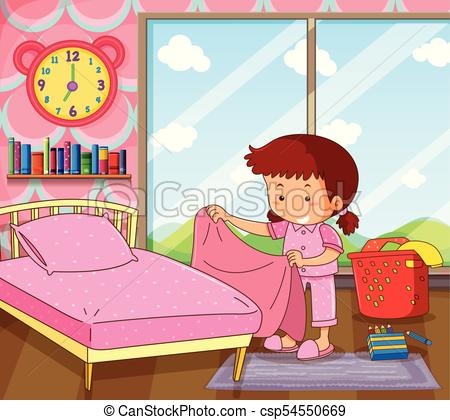 Girl making bed clipart 6 » Clipart Station.
