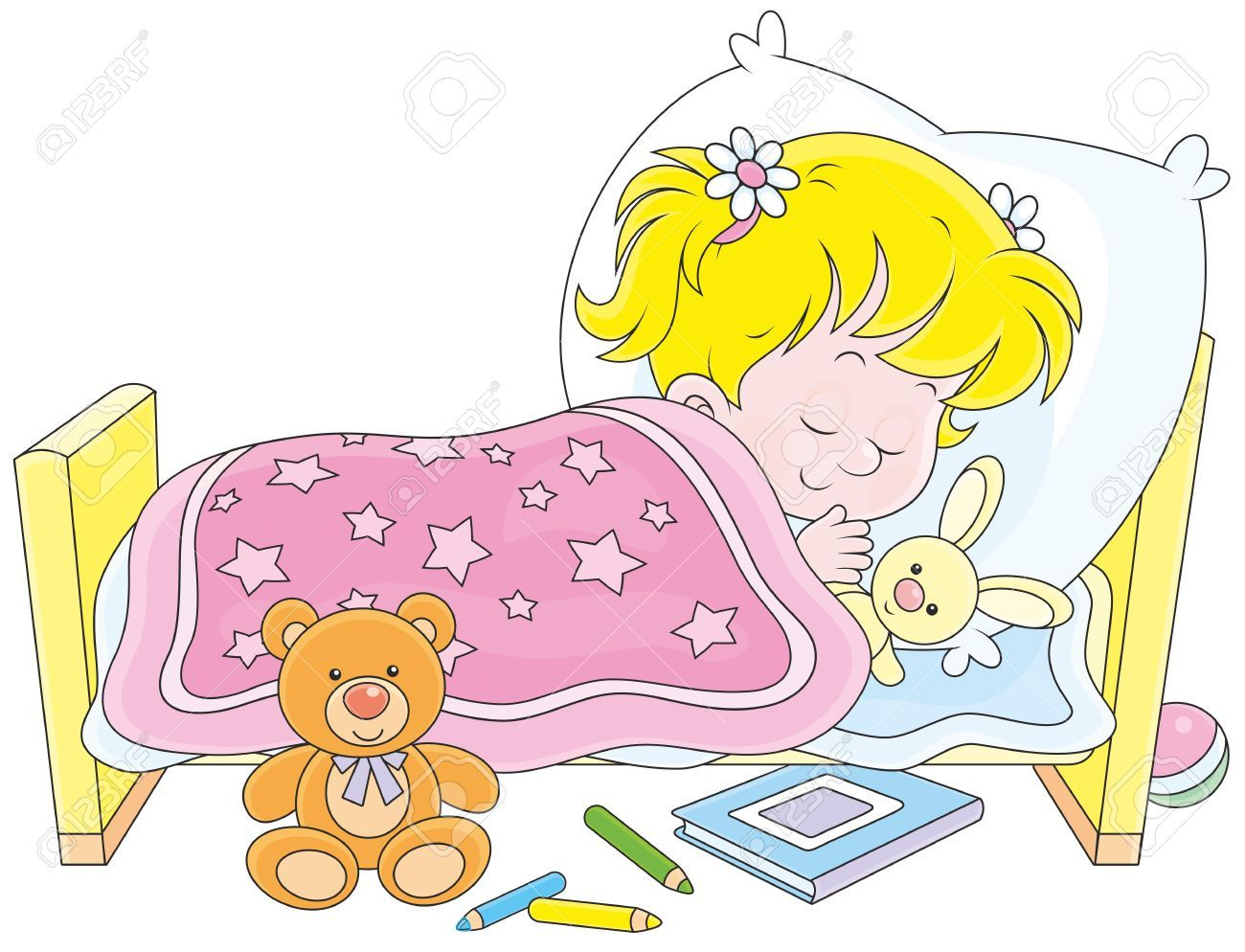 Girl sleeping in bed clipart 1 » Clipart Portal.
