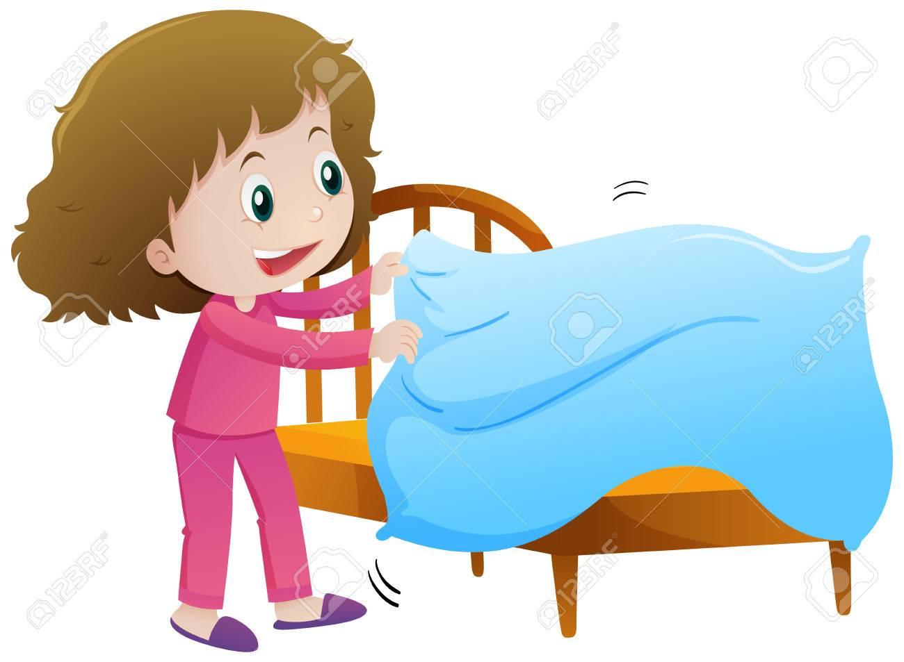 Little girl making bed illustration.